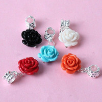 Wholesale 100pcs Coral Rose Flower Silver Plated Pendant European Beads Fit Bracelet Jewelry