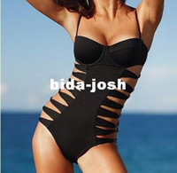 Body Suits Women Spandex 2013 New Women Lady Sexy One Piece Black Cut Off Bikini Monokini Bra Padded Push Up Swimwear Bath Beach Wear Suit Swimming SML