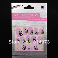 bamboo tips - 10pcs D Panda Bamboo Design Nail Art Tips Acrylic Salon Accessory Decoration Stickers Decals