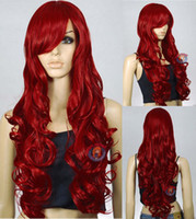 Wholesale 33 inch Heat Resistant red Curly Wavy Long Cosplay Wigs CM