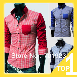 Wholesale spring casual brief grid men s shirt M L XL XXL red blue Y7157 A2017