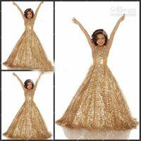 Halter alex dresses - 2013 Pagent Dresses Grils Halter A Line Gold Alex Pleat Sashes Princess Gowns Formal Dresses for Girl