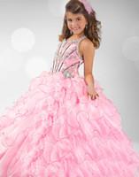 al por mayor niñas vestidos formales pagent-SSJ 2013 Pagent Vestidos Grils Spaghetti Organza rosa del vestido de bola plisado Apliques Crystal Beads Princesa Vestidos Vestidos formales para Girl