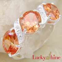 South American Men's Wedding Saint Valentine's Day Gift Promise Rings For Women Orange Zircon Rings R0007