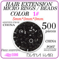 African-American Wigs Links, Rings & Tubes DH---A001 500pcs Pack 5mm*3mm*3mm Best Seller Micro Rings Links Beads For Human Hair Extensions Tool Kit, 1# Free Shipping