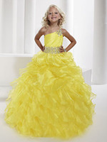 One-Shoulder crystal ball beads - 2015 Pagent Dresses Grils One Shoulder Yellow Organza Ball Gown Pleat Colorful Crystal Sashes Beads Princess Gowns Formal Dresses for Girl