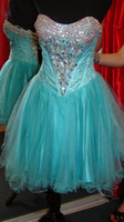 Reference Images Sweetheart Organza Customized Sweetheart Lace Crystals Prom Dresses 2014 Designer Organza Corset Beaded Rhinestones Layered Ruched Mini Cocktail Gown P666