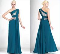 Wholesale Elegant One Shoulder Mother of the Bride Dresses Chiffon Fabric Sequins Pleat Sleeveless Floor Length Custom Made Hidden Zipper High Quality