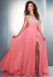 Wholesale Mac Glamorous High collar sleeves beaded chiffon Coral Evening dresses Prom dresses full length