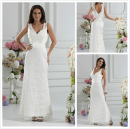 Modern Ankle Length V Neck Applques Lace A-Line Wedding Bridal Dress Dresses Gowns 2013 Custom Made Sexy Designer white ivory
