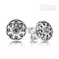 Wholesale New Arrivals Brand Hot European Silver Jewelry for PANDORA Stud Earring With K And Green Synthetic Spinel pairs