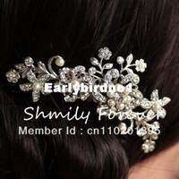 Wholesale STUNNING BRIDAL WEDDING RHINESTONES PEARLS DIAMANTE HAIR COMB CLIP