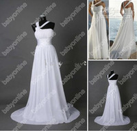 Wholesale No Risk Shopping Real Image Sexy Sheath Court Train Chiffon Pleats Beach Wedding Dresses Wedding Gown wzb002