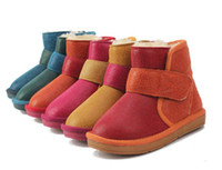Unisex Winter Leather Kids Childrens Snow Boots Winter Warmer Leather Snow Boots Shoes for Both Girls and Boys