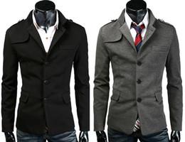 Wholesale 5PCS Hot Sell Mens Man Male Boys Slim Fit Outwear Coats Fashion Stylish Single Breasted Pea Coats Outwear Overcoat Apparel Black Grey