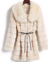 Wholesale New arrival women s hot sale fashion female winter noble Rabbit fur collar long sections tide coat
