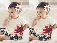 Wholesale Baby Girls Kids T Shirt Headband Top Pants Shorts Flower Outfit Clothes