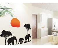 Graphic vinyl african room decor - African Elephants Trees Sunset Art Decal Animal Wall Sticker Decor Decals WHM