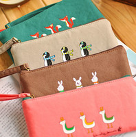 Wholesale 5412 small animal fluid fabric pencil case stationery bags pen curtain storage bag