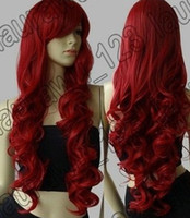 Wholesale 32 quot Long Big Spiral Curl Dark Red Cosplay Wig wigs