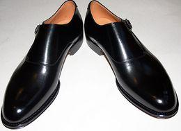 Men Dress shoes Monk shoes Custom handmade shoes Men' s shoes Genuine calf leather Strap buckle color black HD-172