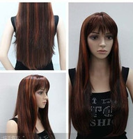 Wholesale New long brown mixed color straight women s wig