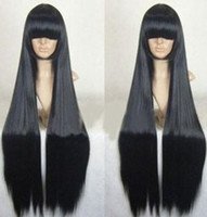 Wholesale long cm cosplay hair Black long straight wig party wig