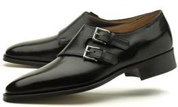Men Dress shoes Monk shoes Custom handmade shoes Men's shoes Genuine calf leather Doulbe strap buckles Color black HD-060