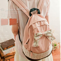 Backpacks Leather & Canvas Women Girls Vintage Canvas Cute Rucksack Satchel Travel Schoolbag Bookbag Backpack Bow