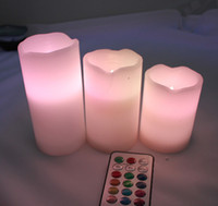 Wholesale Colorful x Remote Control LED Changing Vanilla Flameless Wax Candles with Time