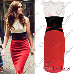 Wholesale Womens Celebrity MIDI Bodycon Ladies Red Pencil Evening Slimming Panel Tea Dress