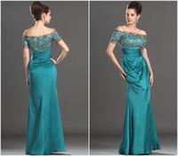 Cheap Sheath/Column lace applique prom dress Best Vintage Sequins designer prom dresses