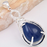 Wholesale 925 Stamped Pendants Necklace New Design London Blue Agate And Amazonite Pendant CP0055