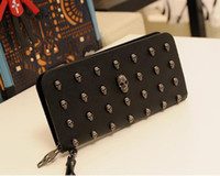 Wholesale Vintage PU Leather Lady Woman Clutch Skull Rivet Long Wallet Handbag Purse Unisex