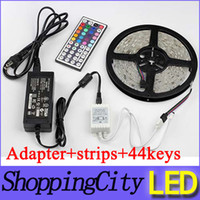 Wholesale Newest Led Flexible Strip RGB V M SMD LED M Waterproof Keys IR Remote Led Controller Power supply Adapter Leds strips light SAA