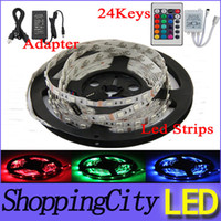 Wholesale Fedex Led Flexible Strip RGB V M SMD LED M Waterproof Keys IR Remote Led Controller Power supply Adapter Leds strips light SAA
