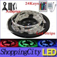 Wholesale Fedex Led Flexible Strip RGB V M SMD LED M Waterproof Keys IR Remote Led Controller Power supply Adapter Leds strips light SAA