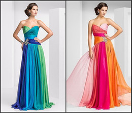 Wholesale New Arrival Chiffon Evening Dress Formal Dresses A Line Sweetheart Blue Green Orange Red Beaded Crystals Sash Custom Made Zipper Lace Up Hot