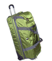 Wholesale Trolly Cases Green Rolling Luggage Aluminous Trolley Large Packing Capacity Lockable Zip Durable Lightweight Nylon Case Sale