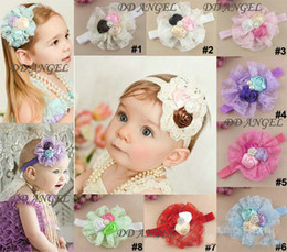 lovely flowers Rose Lace baby hair band Girls flower Headband baby hair band Girls Hair flowers Christmas hair band