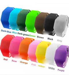Wholesale Big Promotion Led Touch Watch plastic rubber ultra thin touch led sports watch electronic digital jelly candy watches color edison2011