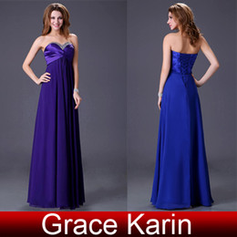 Wholesale 1PCS Strapless Beading Sexy Royal Blue Prom Party Evening dress First Communion Dresses Sizes CL4101