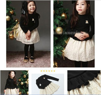 A-Line clothes for kids - Spring Fall For Baby Kids Dress Knitted Top With Lace Long Sleeve Girls Dresses Thicken Keep Warm Year Children Clothing QZ32