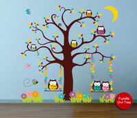 Wholesale funlife Exclusive Ebay Hottest Owl in Night Nursery Kids room Vinyl Art Mural Wall Decals x136cm x54in