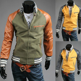 Wholesale s2014 new Men s jacket zipper Slim Fashion stitching Collar mens jacket men s coat men s clothes green leather sleeve