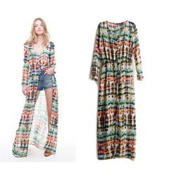 2017 new chiffon dress Fashion women printed dresses V-neck summer dresses long sleeve ladies maxi dress Cape skirt beach dress skirts SX64