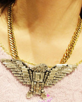Unisex eagle pendant - New vintage Europe Style bronze alloy chain rhinestone crystal silver eagle pendant necklace