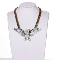 Wholesale New In vintage Europe Style silver bronze alloy chain rhinestone crystal eagle pendant necklaces