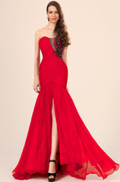 Free shipping 2019 Sexy exquisite chiffon beaded red mermaid sleeveless Prom Dresses Evening dresses 3710