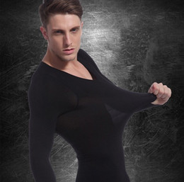 Wholesale Fashion Men thermal underwear Long Sleeve seamless body shaper slimming Corset Tops Winter